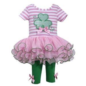 NWT Baby Girl 3M-9M Shamrock Tutu Legging Set